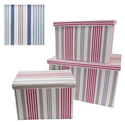 SET OF 3 RECTANGULAR STRIPED FABRIC STORAGE