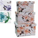 SET OF 3 FLORAL BONDED PAPER STORAGE