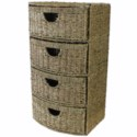4 DRAWER BOW FRONT SEAGRASS STORAGE UNIT