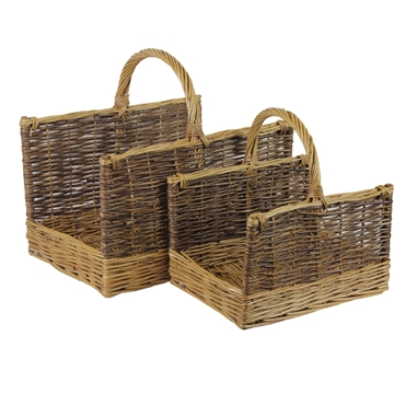 Picture of Two Tone Wicker Log Baskets