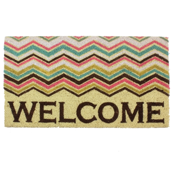 Picture of Welcome Zig Zag PVC Coir Doormat 40x70cm