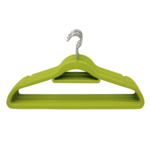 Picture of 20PK Large Soft Touch Clothing Hangers - Lime