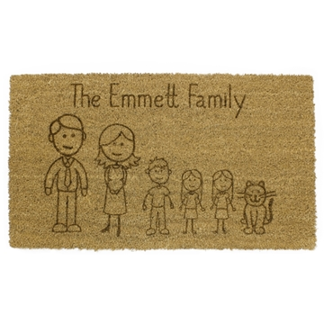 Picture of Personalised Laser Coir - Cartoon Family 40x60cm