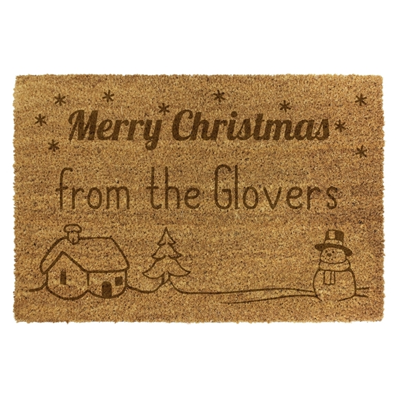 Picture of Personalised Christmas Laser Coir - Snowman  40x60cm