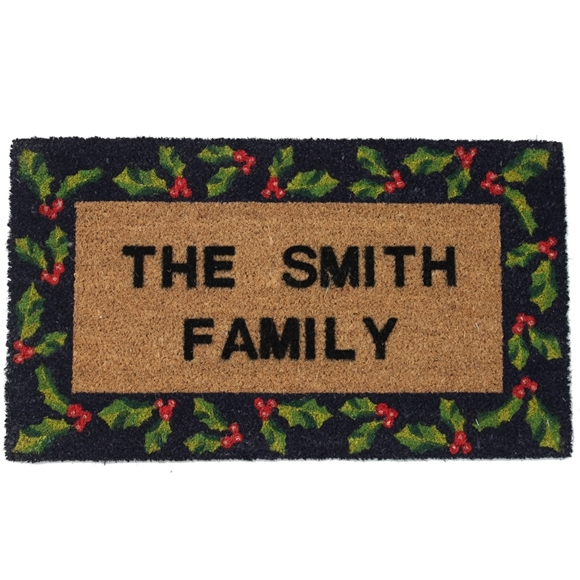 Picture of Personalised Christmas Stenciled Coir - Holly  40x70cm