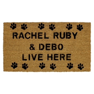 Picture of Personalised Stenciled Coir - Paws Row  40x70cm