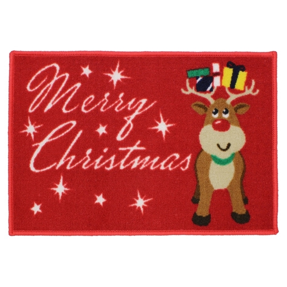 Picture of Christmas Machine Washable Mat  - Merry Christmas Reindeer 40x60cm