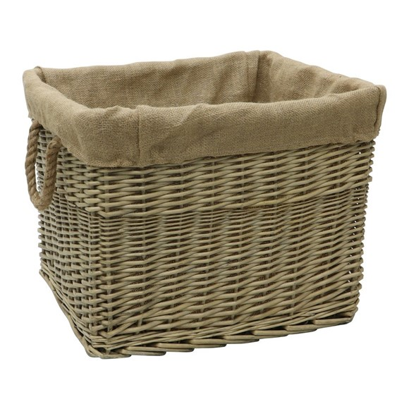 Picture of Rectangle Antique Wash Lined Log Basket