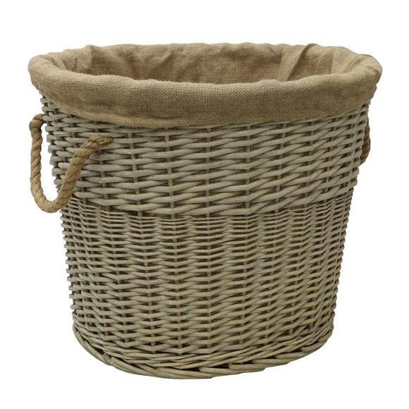 Picture of Oval  Antique Wash Lined Log Basket