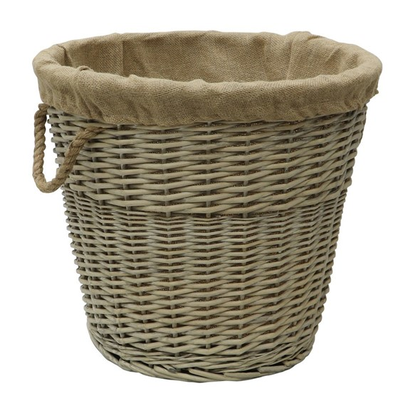 Picture of Round Antique Wash Lined Log Basket