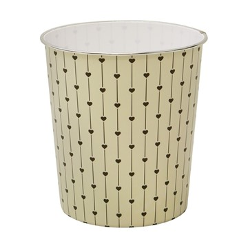 Picture of 9L Cream Heart Waste Paper Bin